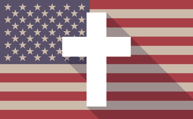 Long shadow USA flag icon with a cross